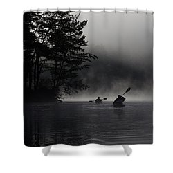 Kayaking In The Fog Shower Curtain