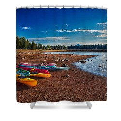 Shower Curtain featuring the painting Kayaking On Howard Prairie Lake In Oregon by Omaste Witkowski