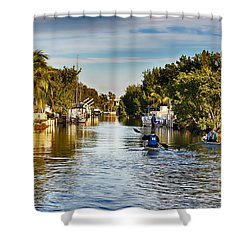 Kayaking The Canals Shower Curtain