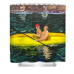 Shower Curtain featuring the painting Kayaks by Donald J Ryker III