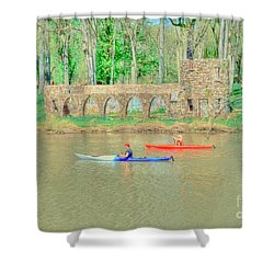 Kayaks Shower Curtain by Kathleen Struckle