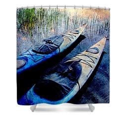 Kayaks Resting W Metal Shower Curtain