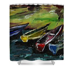 Kazinga Channel Boats Shower Curtain