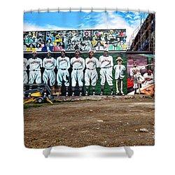 Kc Monarchs - Baseball Shower Curtain by Liane Wright