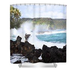 Keanae Lava Rocks Shower Curtain by Jenna Szerlag