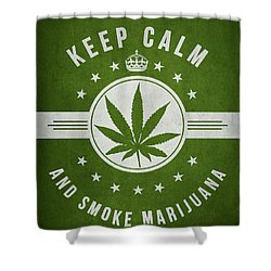 Keep Calm And Smoke Marijuana - Green Shower Curtain by Aged Pixel