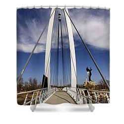 Keeper Of The Plains Bridge View Shower Curtain