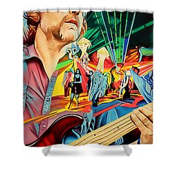 Shower Curtain featuring the painting Keith Moseley At Horning's Hideout by Joshua Morton