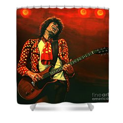 Keith Richards Painting Shower Curtain by Paul Meijering