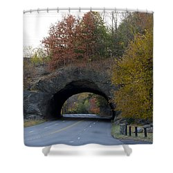 Kelly Drive Rock Tunnel In Autumn Shower Curtain by Bill Cannon