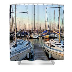 Kemah Boardwalk Marina Shower Curtain by Savannah Gibbs