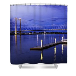 Shower Curtain featuring the photograph Kennewick Bridge 2 by Sonya Lang