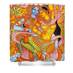 Kerala Fresco Mural Shower Curtain