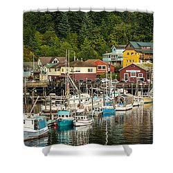 Ketchikan Harbor Shower Curtain by Steven Bateson