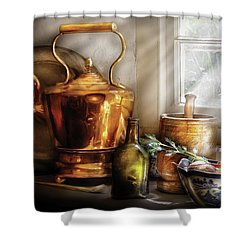 Kettle - Cherished Memories Shower Curtain by Mike Savad