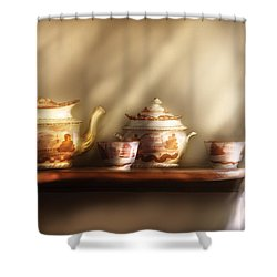 Kettle - My Grandmother's Chinese Tea Set  Shower Curtain by Mike Savad