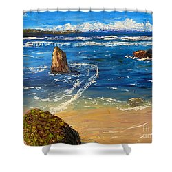 Shower Curtain featuring the painting Kiama Beach by Pamela  Meredith