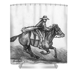 Shower Curtain featuring the drawing Kickin Up Dust by Shana Rowe Jackson