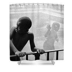 Kid In Sprinkler Shower Curtain