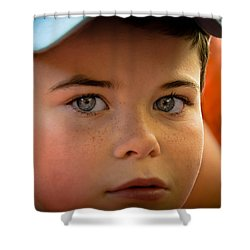 Kid's Blue Eye's Shower Curtain by Sotiris Filippou