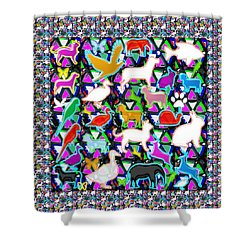 Kids Count The Birds Butterflies N Animals Circle Artistic Navin Joshi Rights Managed Images Graphic Shower Curtain by Navin Joshi