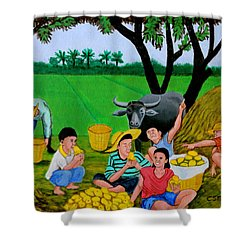 Kids Eating Mangoes Shower Curtain