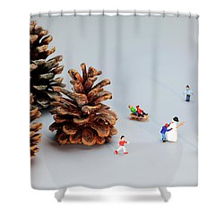Kids Merry Christmas By Pinecones Shower Curtain by Paul Ge
