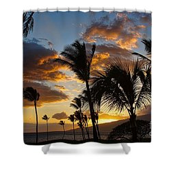 Shower Curtain featuring the photograph Kihei At Dusk by Peggy Hughes