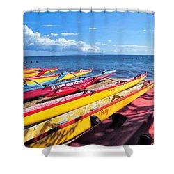 Shower Curtain featuring the photograph Kihei Canoe Club 6 by Dawn Eshelman