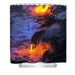 Kilauea Volcano Lava Flow Sea Entry 5 - The Big Island Hawaii Shower Curtain by Brian Harig