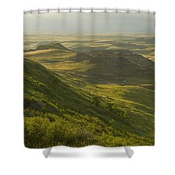 Killdeer Badlands In East Block Of Shower Curtain by Dave Reede