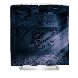 Shower Curtain featuring the photograph Killer Behind You - Abandoned Hospital Asylum by Gary Heller
