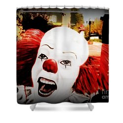 Killer Clowns On The Loose Shower Curtain by Kelly Awad
