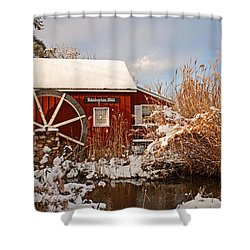 Kimberton Mill After Snow Shower Curtain by Michael Porchik