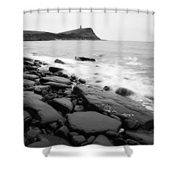 Kimmeridge Bay In Black And White Shower Curtain by Ian Middleton