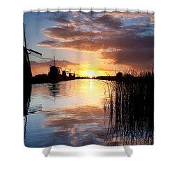 Kinderdijk Sunrise Shower Curtain by Dave Bowman