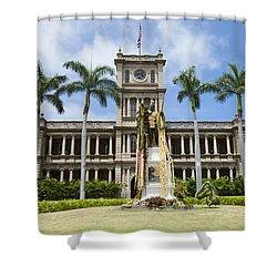 King Kamehameha In Leis Shower Curtain by Brandon Tabiolo