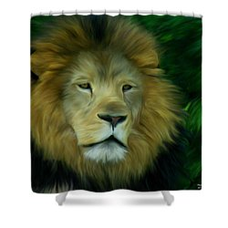 Shower Curtain featuring the painting King by Maria Urso