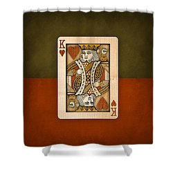 King Of Hearts In Wood Shower Curtain