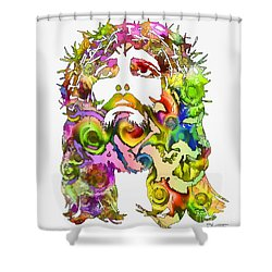 Shower Curtain featuring the painting King Of Not Of This World by Dave Luebbert