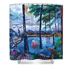 Kingfisher And Deer In Landscape Shower Curtain by Stan Esson