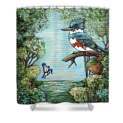Shower Curtain featuring the painting Kingfishers Cove by VLee Watson