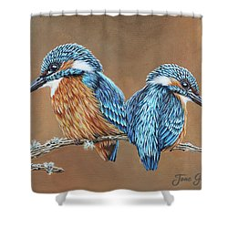 Shower Curtain featuring the painting Kingfishers by Jane Girardot