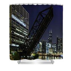 Kinzie Street Railroad Bridge At Night Shower Curtain by Sebastian Musial