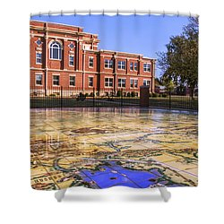 Kiowa County Courthouse With Mural - Hobart - Oklahoma Shower Curtain by Jason Politte