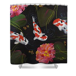 Shower Curtain featuring the painting Kippycash Koi by Judith Rhue