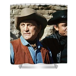 Shower Curtain featuring the photograph Kirk Douglas Johnny Cash A Gunfight  Old Tucson Arizona 1971 by David Lee Guss