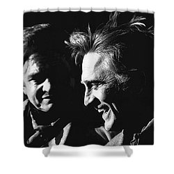 Shower Curtain featuring the photograph Kirk Douglas Laughing Johnny Cash Old Tucson Arizona 1971 by David Lee Guss
