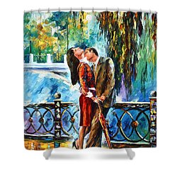 Kiss After The Rain New Shower Curtain by Leonid Afremov