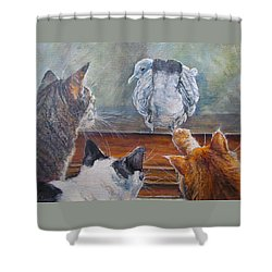 Shower Curtain featuring the painting Kiss My Assssssss by Donna Tucker